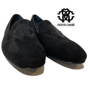 Roberto Cavalli Black Suede Smoking Slippers 43.5